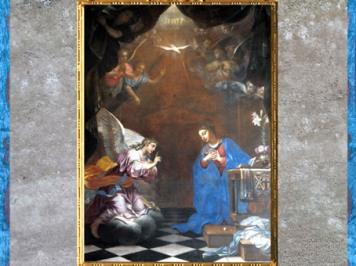 D'après l'Annonciation, de Daniel Hallé,1659, commande de Jean III de Choisy, chancelier du duc d'orléans, Notre-Dame-de-la-Nativité de Bercy, France, XVIIe siècle, art baroque. (Marsailly/Blogostelle)