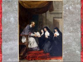 D'après saint François de Sales donnant à sainte Jeanne de Chantal la règle de l'ordre de la Visitation, de Noël Hallé, église Saint-Louis-en-l'Île, Paris, XVIIIe siècle. (Marsailly/Blogostelle)