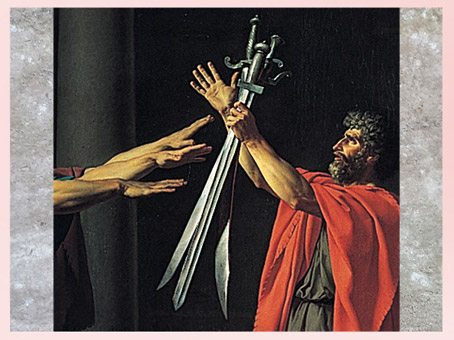 D'après Le Serment des Horaces, de Jacques-Louis David, détail, les épées, 1784, huile sur toile, France, XVIIIe siècle, Néoclassique. (Marsailly/Blogostelle)