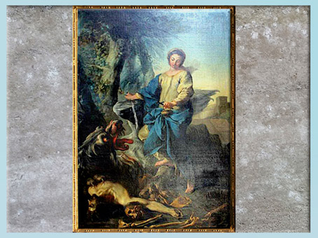 D'après Sainte Marthe triomphant de la Tarasque, de Van Loo, collégiale Sainte Marthe, Tarascon, France, XVIIIe siècle. (Marsailly/Blogostelle)