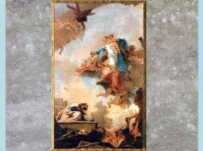 D'après la Vierge du Carmel apparaissant à saint Simon Stock, de Giovanni Battista Tiepolo, esquisse, vers 1746 - 1749, huile sur toile, XVIIIe siècle. (Marsailly/Blogostelle)