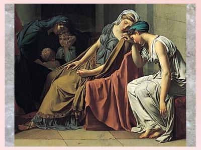D'après Le Serment des Horaces, de Jacques-Louis David, détail, Sabine et Camille, 1784, huile sur toile, France, XVIIIe siècle, Néoclassique. (Marsailly/Blogostelle)