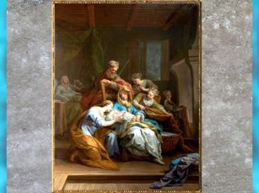 D'après La Naissance de la Vierge, de Jean Restout, 1744, huile sur toile, église Saint-Honoré-d'Eylau, Paris, France, XVIIIe siècle. (Marsailly/Blogostelle)