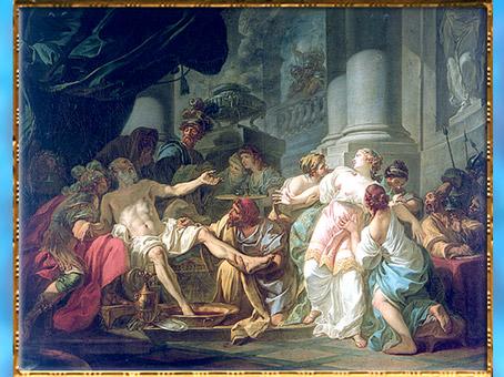 D'après La Mort de Sénèque, de Jacques-Louis David, 1773, huile sur toile, style esprit Rocaille, XVIIIe siècle. (Marsailly/Blogostelle)