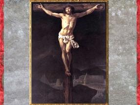 D'après Le Christ en croix, de Jacques-Louis David, 1782, pour le Maréchal de Noailles, huile sur toile, cathédrale Saint-Vincent, Mâcon, France, XVIIIe siècle,(Marsailly/Blogostelle)