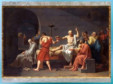 D'après La Mort de Socrate, de Jacques-Louis David, 1787, huile sur toile, XVIIIe siècle, Néoclassique. (Marsailly/Blogostelle)
