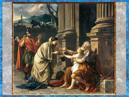 D'après Bélisaire demandant l'aumône, de Jacques-Louis David, 1781, France, XVIIIe siècle, Néoclassique. (Marsailly/Blogostelle)