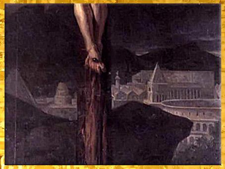 D'après Le Christ en croix, de Jacques-Louis David, 1782, huile sur toile, cathédrale Saint-Vincent, Mâcon, France, XVIIIe siècle,(Marsailly/Blogostelle)