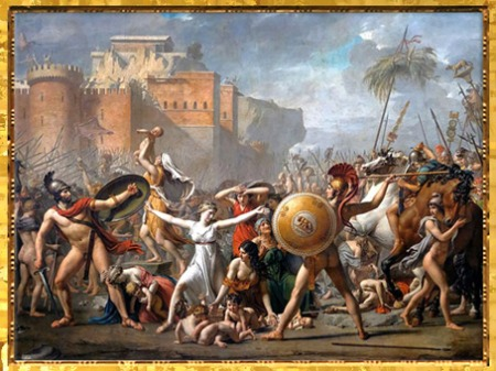 D'après Les Sabines, faisant cesser le combat entre Romains et Sabins, de Jacques-Louis David, 1799, XVIIIe siècle, Néoclassique. (Marsailly/Blogostelle)