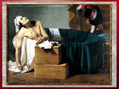 D'après La mort de Marat, de Joseph Roques (maître d'Ingres), 1793, huile sur toile, XVIIIe siècle, Néoclassique. (Marsailly/Blogostelle)