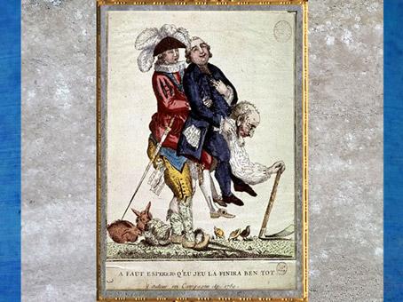 D'après une caricature, paysan portant noble et prélat, auteur anonyme, estampe, France, après 1789, XVIIIe siècle. (Marsailly/Blogostelle)