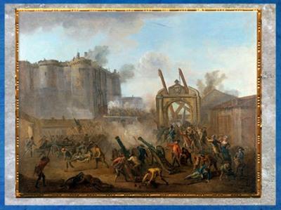 D'après La Prise de la Bastille, le 14 juillet 1789, Jean-Baptiste Lallemand, vers 1789 apjc, France, XVIIIe siècle. (Marsailly/Blogostelle)