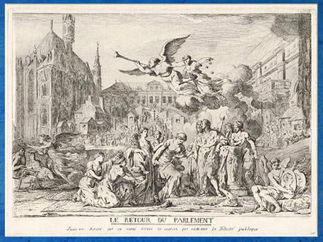 D'après Le Retour du Parlement, La justice ramène la félicité publique, de Jean Bernard, gravure,1774, France, XVIIIe siècle. (Marsailly/Blogostelle)