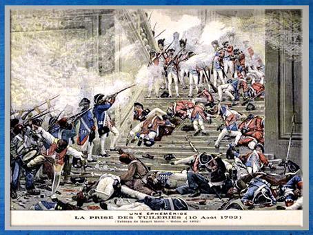 D'après La Prise des Tuileries, le 10 août 1792, lithographie en couleur, Henri-Paul Motte, Salon de 1892, France, XVIIIe siècle. (Marsailly/Blogostelle)