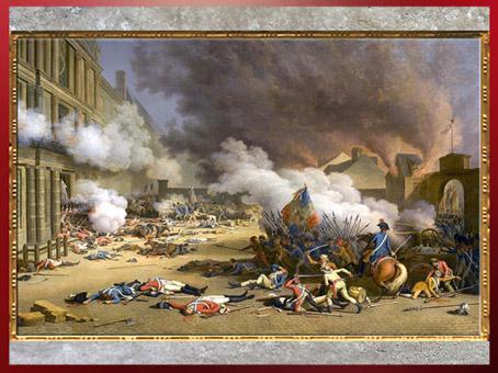 D'après la Prise du palais des Tuileries le 10 août 1792, de Jean Duplessis-Bertaux, 1793, huile sur toile, France, XVIIIe siècle. (Marsailly/Blogostelle)