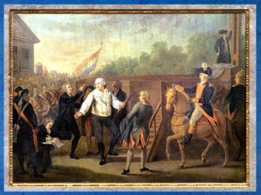 D'après Louis XVI et l'abbé Edgeworth de Firmont au pied de l'échafaud, le 21 janvier 1793, de Charles Bénazech, France, XVIIIe siècle. (Marsailly/Blogostelle)