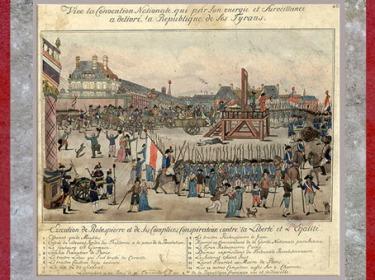 D'après l'Exécution de Robespierre et de ses complices, auteur anonyme, estampe, 1794, France, XVIIIe siècle. (Marsailly/Blogostelle)