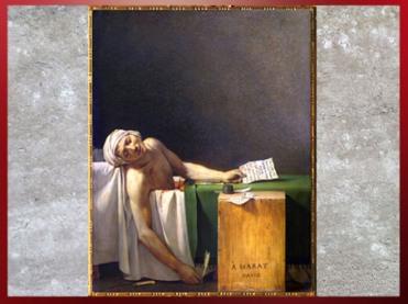 D'après La Mort de Marat, de Jacques-Louis David, 1793, huile sur toile, France, XVIIIe siècle, Néoclassique. (Marsailly/Blogostelle)