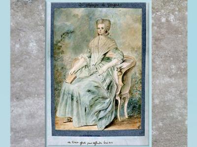 D'après Olympe de Gouges, aquarelle et inscription : Elle s'était offerte pour défendre Louis XVI, auteur anonyme, France, fin XVIIIe siècle. (Marsailly/Blogostelle)