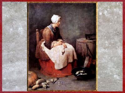 D'après La Fille de cuisine, de Jean-Baptiste Simeon Chardin, 1738, huile sur toile, France, XVIIIe siècle. (Marsailly/Blogostelle)