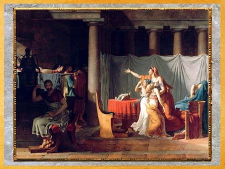 D'après Les Licteurs rapportant à Brutus le corps de ses fils, de Jacques-Louis David, Salon de 1789, France, XVIIIe siècle, Néoclassique. (Marsailly/Blogostelle)