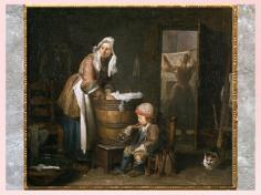 D'après La Blanchisseuse, de Jean-Baptiste Simeon Chardin, 1730, huile sur toile, France, XVIIIe siècle. (Marsailly/Blogostelle)
