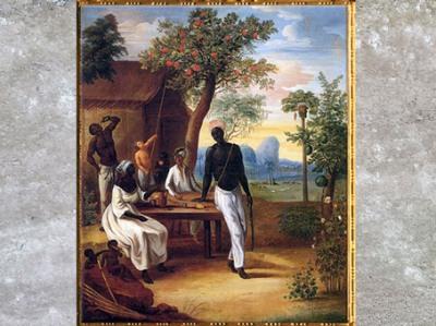 D'après Esclaves noirs à la Martinique, de Marius-Pierre Le Masurier, 1775, huile sur toile, XVIIIe siècle. (Marsailly/Blogostelle)