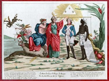 D'après La Déclaration des droits de l'homme et du citoyen, suppression de l'esclavage le 4 février 1794, estampe, eau-forte, France, XVIIIe siècle. (Marsailly/Blogostelle)
