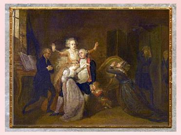 D'après Les adieux de Louis XVI à sa famille, 20 janvier 1793, de Charles Bénazech, France, XVIIIe siècle. (Marsailly/Blogostelle)