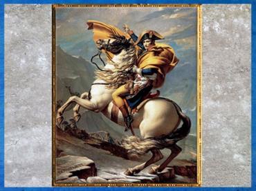 D'après Bonaparte franchissant le col du Grand Saint-Bernard, dans les Alpes, de Jacques-Louis David, 1800. (Marsailly/Blogostelle)