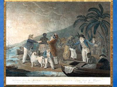 'après une scène d'esclavage, Execrable Human Traffick, modèle de George Morland, gravure aquarellée, 1794, Angleterre, XVIIIe siècle. (Marsailly/Blogostelle)