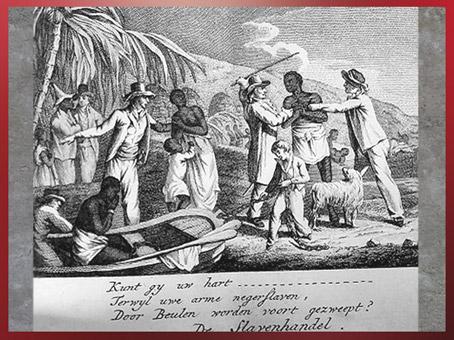 D'après une scène d'esclavage, Execrable Human Traffick, modèle de George Morland, gravure, 1794, Angleterre, XVIIIe siècle. (Marsailly/Blogostelle)