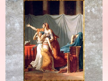 D'après le groupe des femmes, Les Licteurs rapportant à Brutus le corps de ses fils, de Jacques-Louis David, Salon de 1789, France, XVIIIe siècle, Néoclassique. (Marsailly/Blogostelle)