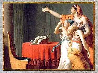D'après la corbeille, Les Licteurs rapportant à Brutus le corps de ses fils, de Jacques-Louis David, Salon de 1789, France, XVIIIe siècle, Néoclassique. (Marsailly/Blogostelle)