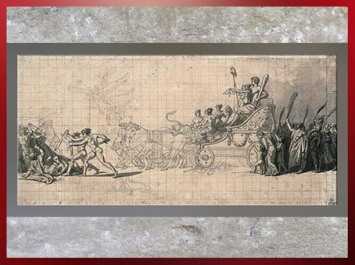 D'après Le Triomphe du peuple Français, de Jacques-Louis David, 1794, dessin, graphite, plume, encre et lavis, France, XVIIIe siècle, Néoclassique. (Marsailly/Blogostelle)