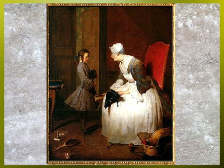 D'après La Gouvernante, de Jean-Siméon Chardin, 1739, huile sur toile XVIIIe siècle. (Marsailly/Blogostelle)