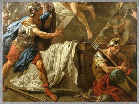 D'après La Résurrection du Christ, de Louis Jean François Lagrenée, 1761, huile sur toile, détail, France, XVIIIe siècle. (Marsailly/Blogostelle)