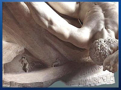 D'après The Falling Titan (La Chute du titan), détail, de Thomas Banks, 1786, marbre, Angleterre, Néoclassique, fin XVIIIe siècle. (Marsailly/Blogostelle)