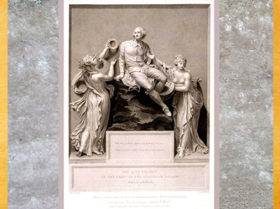 D'après Shakespeare entouré par les allégories de la Poésie et de la Peinture, de Thomas Banks, 1789, gravure, fin XVIIIe siècle. (Marsailly/Blogostelle)
