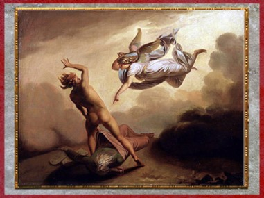 D'après L'Archange Michel et Satan se disputant le corps de Moïse, de Nicolaï Abraham Abildgaard, 1782, huile sur toile, fin XVIIIe siècle. (Marsailly/Blogostelle)