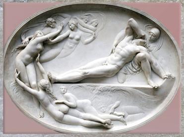 D'après Thétis et ses nymphes, Achille et Patrocle mort, de Thomas Banks, 1777-1778, relief, marbre, Angleterre, Néoclassique, fin XVIIIe siècle. (Marsailly/Blogostelle)
