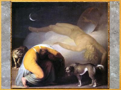 D'après Le Fantôme de Culmin apparaissant à sa mère, de Nicolaï Abraham Abildgaard, vers 1794, huile sur toile, fin XVIIIe siècle. (Marsailly/Blogostelle)