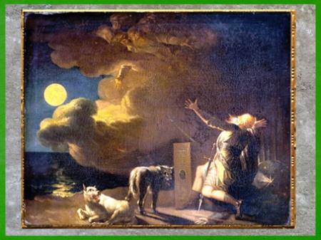 D'après Fingal voit les fantômes de ses ancêtres au clair de lune, de Nicolaï Abraham Abildgaard, vers 1782, huile sur toile, XVIIIe siècle. (Marsailly/Blogostelle)
