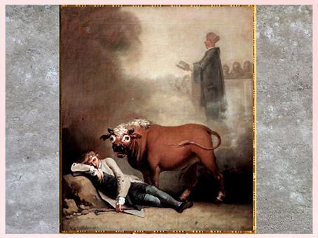 D'après Niels Klim réveillé par un taureau, de Nicolaï Abraham Abildgaard, 1780, inspiré du roman utopique de Ludvig Holberg, huile sur toile, fin XVIIIe siècle. (Marsailly/Blogostelle)
