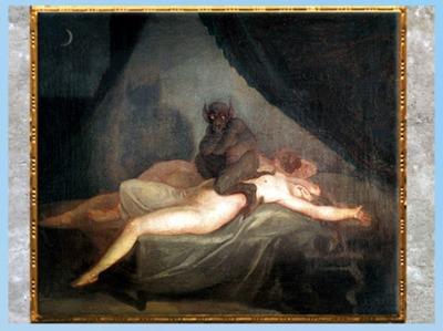 D'après Le cauchemar, de Nicolaï Abraham Abildgaard, vers 1800, huile sur toile, fin XVIIIe siècle. (Marsailly/Blogostelle)