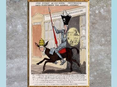D'après une caricature d'Edmund Burke, 1790, eau-forte coloriée, fin XVIIIe siècle. (Marsailly/Blogostelle)