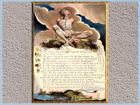 D'après America A Prophecy, Le matin vient…, William Blake, 1793, plume, encre, aquarelle, fin XVIIIe siècle. (Marsailly/Blogostelle)