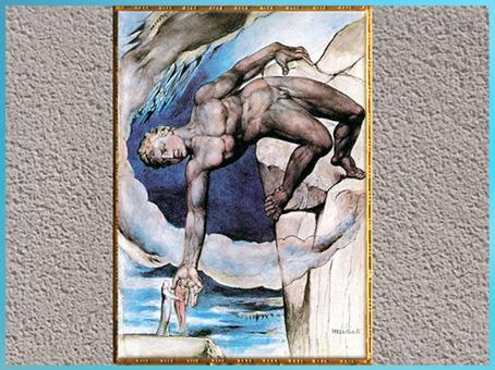 D'après Antée, Dante et Virgile, l'Enfer, de William Blake, 1824-1827, Divine Comédie, encre et aquarelle, début XIXe siècle. (Marsailly/Blogostelle)