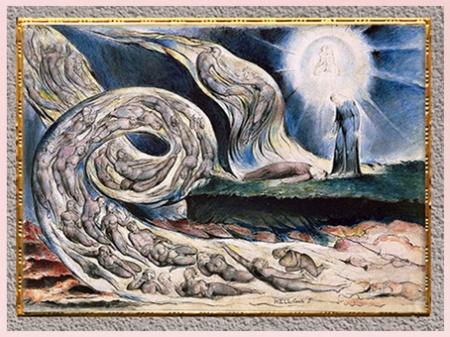 D'après Le Cercle de la luxure, Francesca da Rimini, de William Blake, Divine Comédie, l'Enfer, 1824-1827, encre, aquarelle, début XIXe siècle. (Marsailly/Blogostelle)