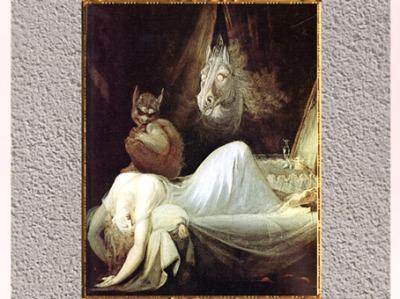 D'après Le cauchemar, de Johann Heinrich Füssli, 1780-1781, huile sur toile, fin XVIIIe siècle. (Marsailly/Blogostelle)